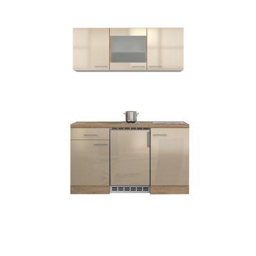 Singleküche NEPAL - 9-teilig, 1 Glashänger - Breite 150 cm - Creme glänzend