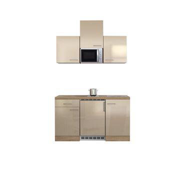 Singleküche NEPAL - mit Mikrowelle - 10-teilig - Breite 150 cm - Creme glänzend