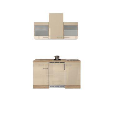 Singleküche NEPAL - mit 2er Glaskeramik-Kochfeld - Breite 150 cm - Creme