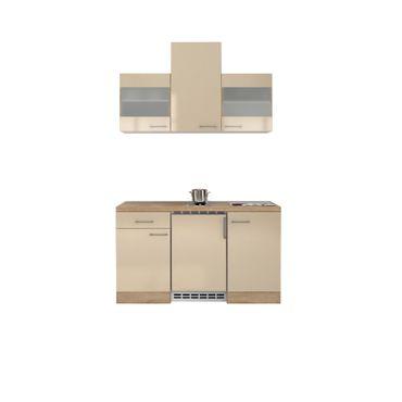 Singleküche NEPAL - mit 2er Elektro-Kochfeld - Breite 150 cm - Creme glänzend