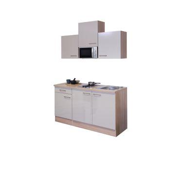 Singleküche NEPAL - mit Mikrowelle, 9-teilig - Breite 150 cm - Creme glänzend