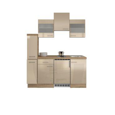 Singleküche NEPAL - mit 2 Glashängeschränken - Breite 180 cm - Creme glänzend