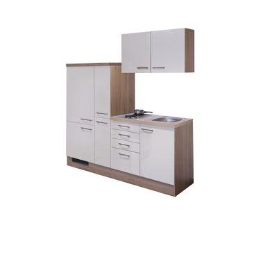 Singleküche NEPAL - mit 2er Elektro-Kochfeld - Breite 190 cm - Creme glänzend