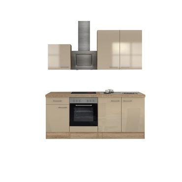 Küchenzeile NEPAL - Küche mit E-Geräten - 11-teilig - Breite 210 cm - Creme