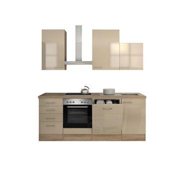 Küchenzeile NEPAL - Küche mit E-Geräten - 12-teilig - Breite 220 cm - Creme