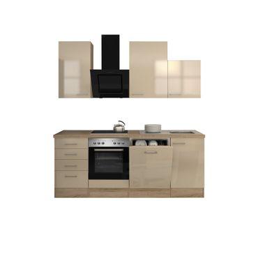 Küchenzeile NEPAL - Küche mit Auszug-Unterschrank - Breite 220 cm - Creme