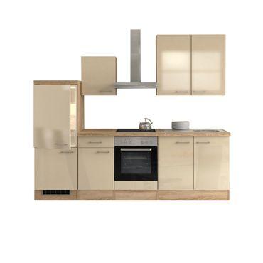 Küchenzeile NEPAL mit Midiumbauschrank, Geräte, 13-teilig, Breite 270 cm - Creme