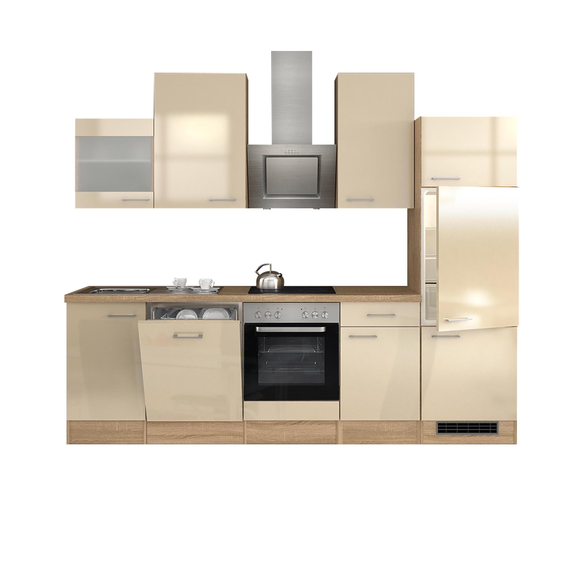 k chenzeile nepal mit e ger ten und glash nger breite 280 cm creme gl nzend k che k chenzeilen. Black Bedroom Furniture Sets. Home Design Ideas