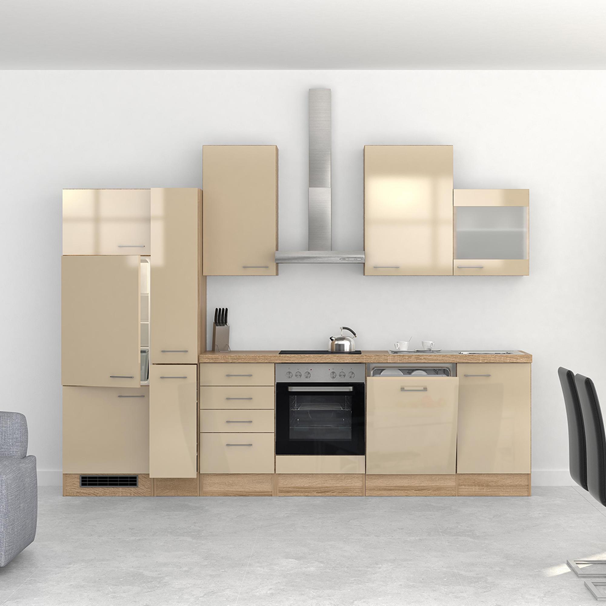 k chenzeile nepal e ger te 1 glash nger 15 teilig breite 310 cm creme k che k chenzeilen. Black Bedroom Furniture Sets. Home Design Ideas