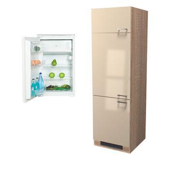 Kühlschrankumbauschrank NEPAL - inkl. Einbau-Kühlschrank - 200 cm hoch - Creme