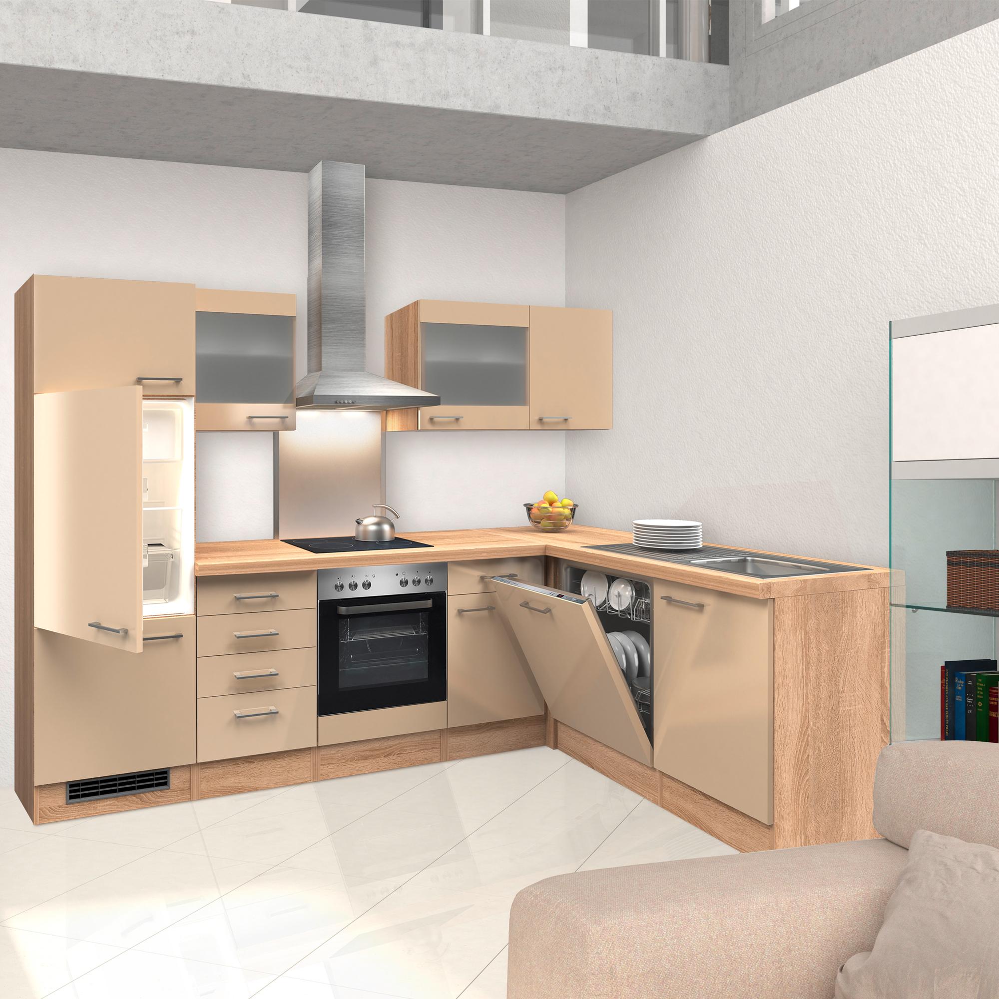 eckk che nepal mit e ger ten 2 glash nger breite 280 x 170 cm creme k che k chenzeilen. Black Bedroom Furniture Sets. Home Design Ideas