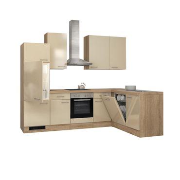Eckküche NEPAL - Küche mit E-Geräten - Breite 280 x 170 cm - Creme glänzend