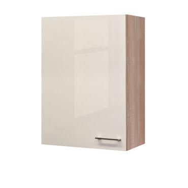 Küchen-Hängeschrank NEPAL - 1-türig - 60 cm breit, 89 cm hoch - Creme glänzend