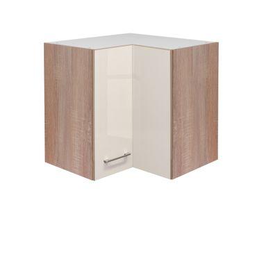 Küchen-Eckhängeschrank NEPAL - 2-türig - 60 cm breit - Creme glänzend