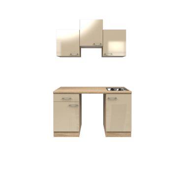 Singleküche NEPAL - Küchen-Leerblock - Breite 150 cm - Creme glänzend