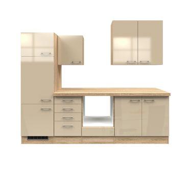 Küchenzeile NEPAL - Leerblock mit Auszugsschrank - Breite 270 cm - Creme