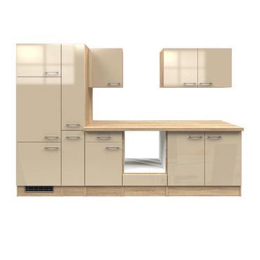 Küchenzeile NEPAL - Küchen-Leerblock - Breite 300 cm - Creme glänzend