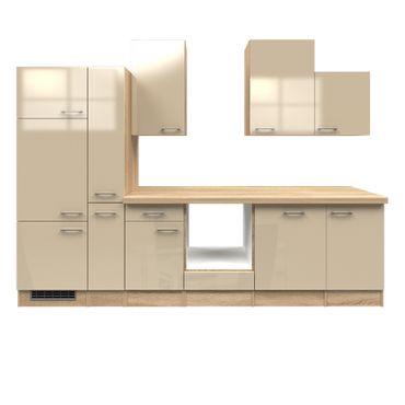 Küchenzeile NEPAL - Küchen-Leerblock - Breite 310 cm - Creme glänzend