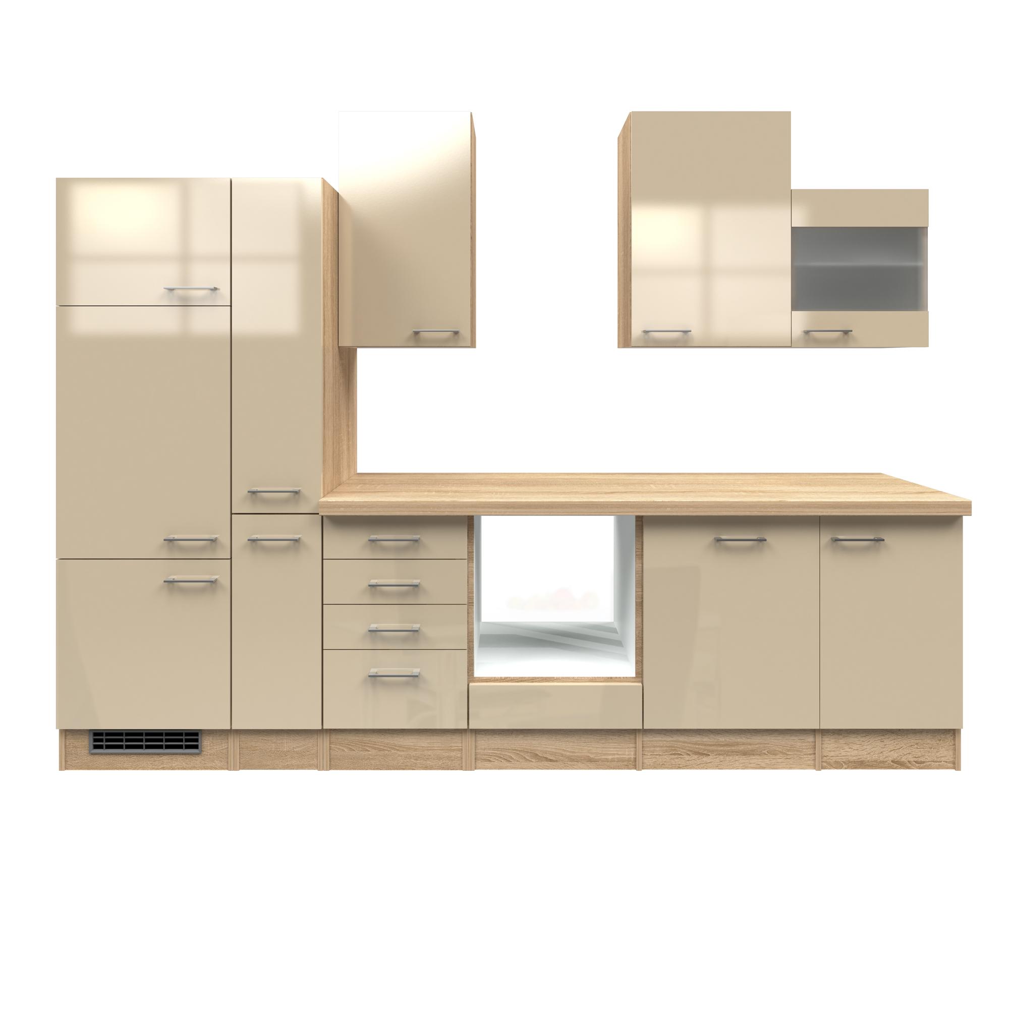 k che ohne e ger te k chenzeile einbauk che k chenblock 310 cm creme beige glanz ebay. Black Bedroom Furniture Sets. Home Design Ideas