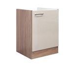 Küchen-Spülenunterschrank NEPAL - 1-türig - 50 cm breit - Creme glänzend