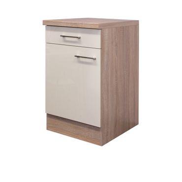 Küchen-Unterschrank NEPAL - 1-türig - 50 cm breit - Creme glänzend