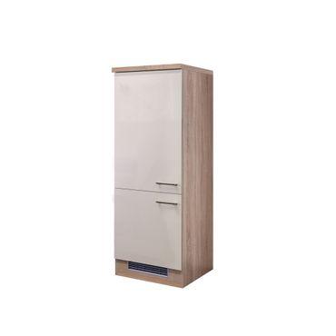 Midi-Kühlschrankumbauschrank Küche NEPAL - 2türig - 60 cm breit - Creme glänzend
