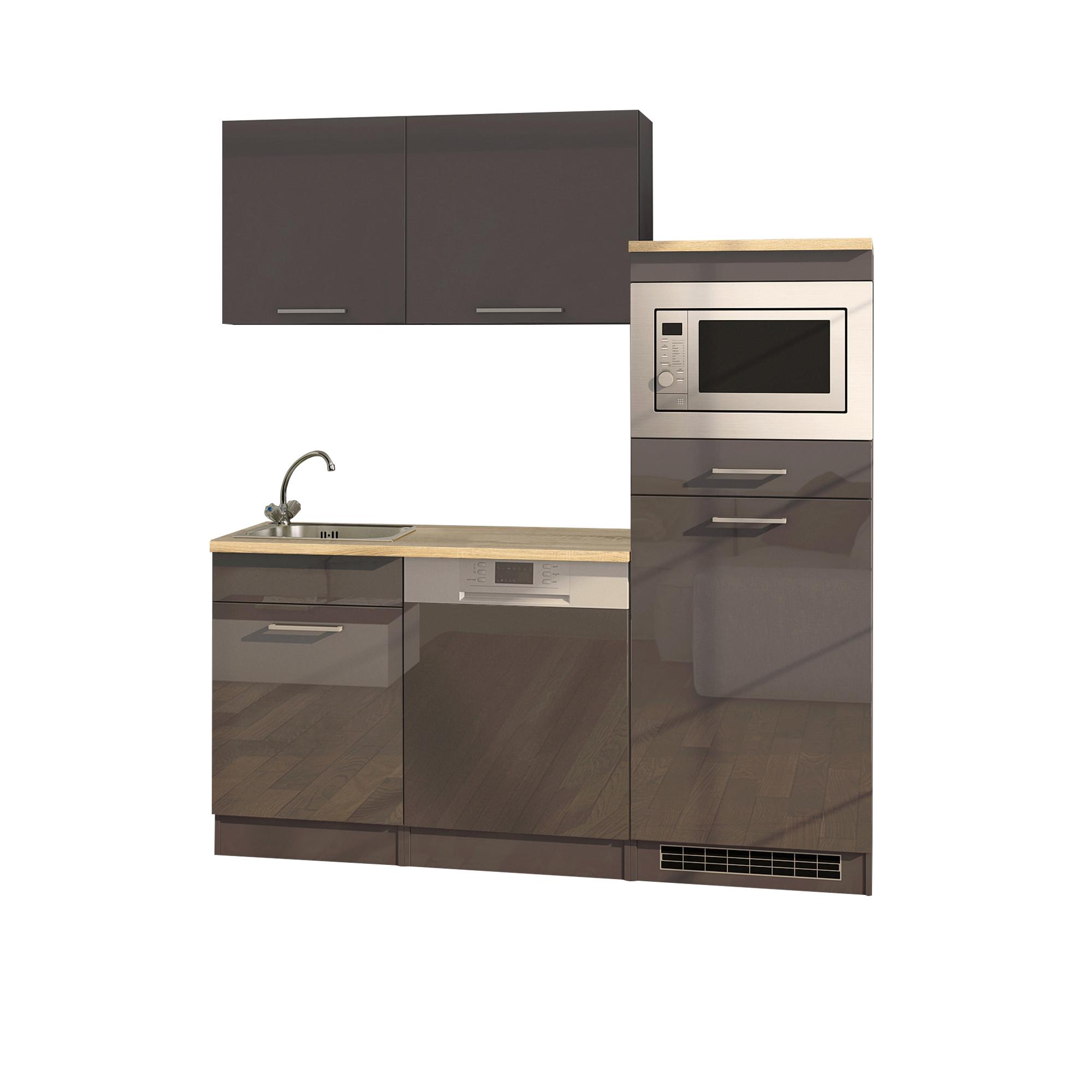 b rok che m nchen breite 170 cm 9 teilig hochglanz grau graphit k che k chenzeilen. Black Bedroom Furniture Sets. Home Design Ideas