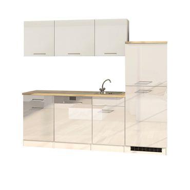Büroküche MÜNCHEN - Breite 220 cm - 10-teilig - Hochglanz Weiß
