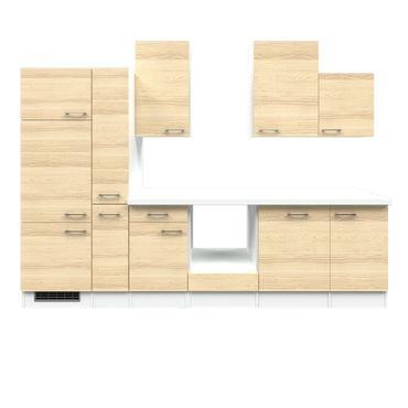Küchenzeile AKAZIA - Küchen-Leerblock - Breite 310 cm - Akazie