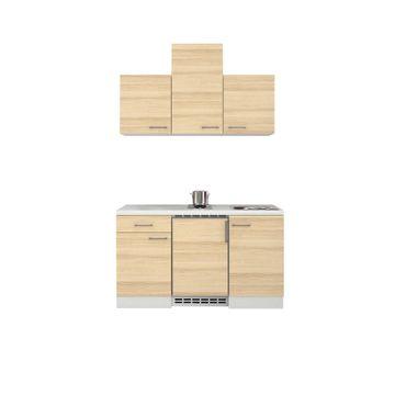 Singleküche AKAZIA - 9-teilig - Breite 150 cm - Akazie mit Echtholzstruktur
