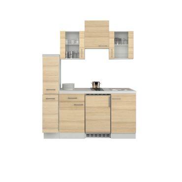 Singleküche AKAZIA - mit 2 Glashängeschränken - Breite 180 cm - Akazie