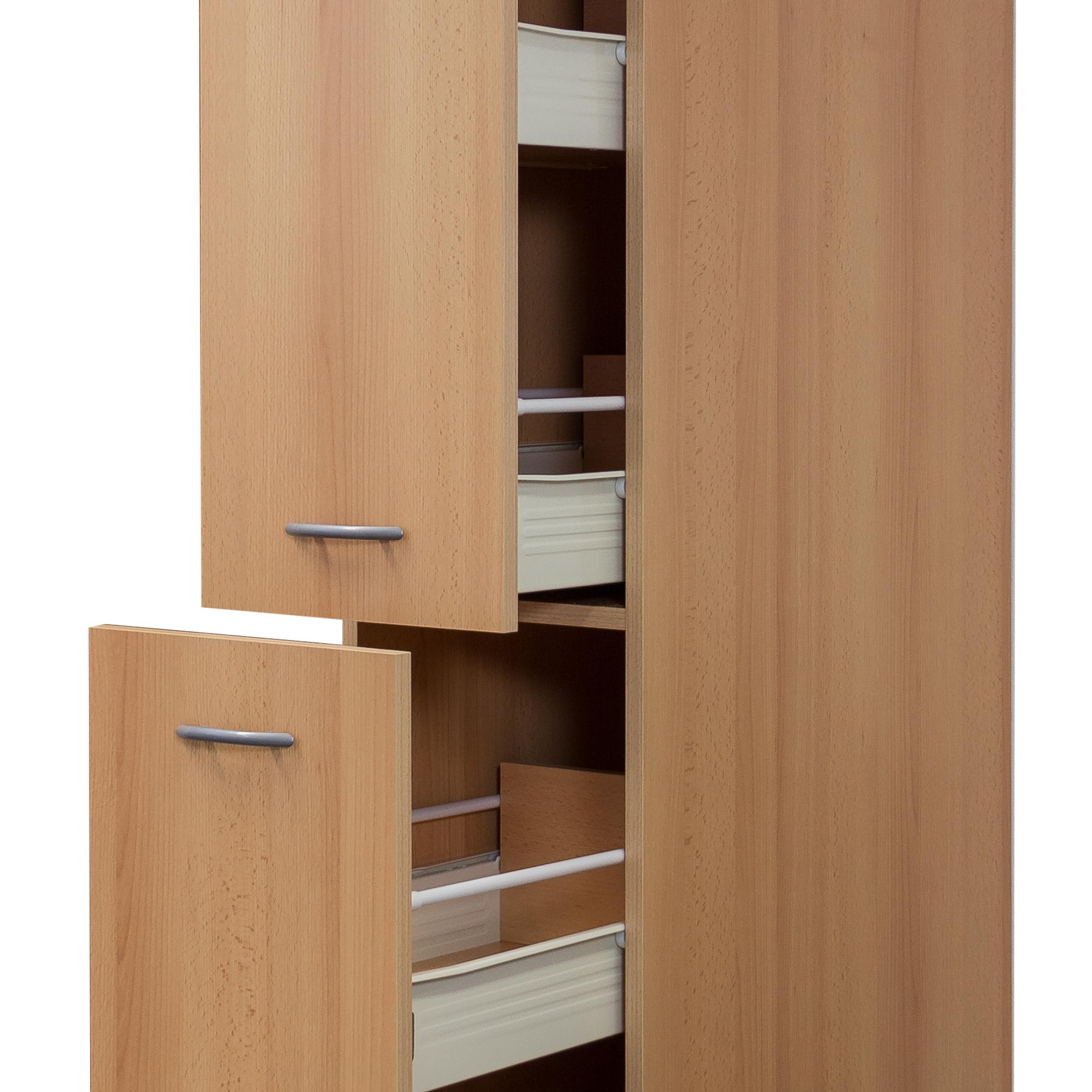 Küchen-Apothekerschrank NANO - 115 Front-Auszüge, 15 Schubkästen - Buche