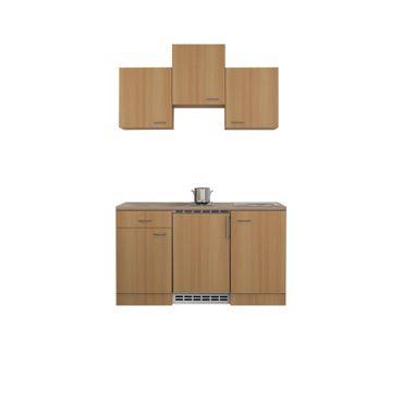Singleküche NANO - mit Elektrokochfeld und Kühlschrank - Breite 150 cm - Buche
