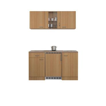 Singleküche NANO - 9-teilig, 1 Glashänger - Breite 150 cm - Buche