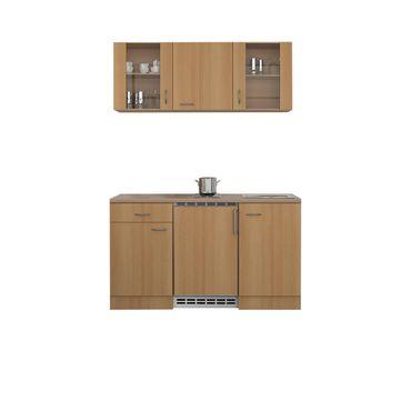 Singleküche NANO - 9-teilig - 2 Glashänger - Breite 150 cm - Buche