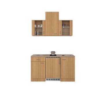 Singleküche NANO - mit 2er Glaskeramik-Kochfeld - Breite 150 cm - Buche