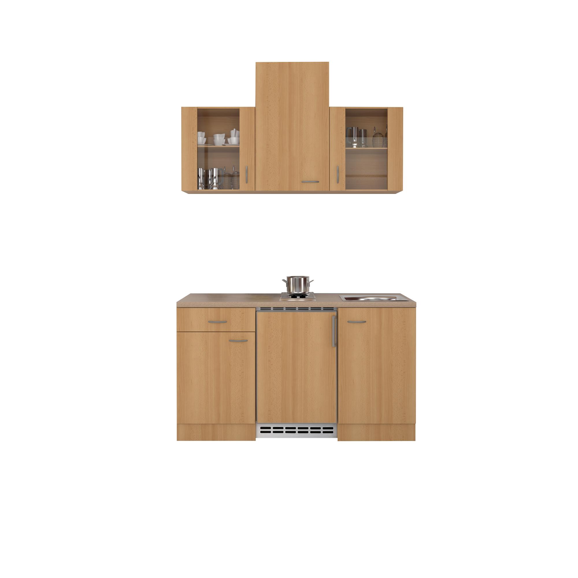 singlek che nano mit 2er elektro kochfeld breite 150 cm buche k che singlek chen. Black Bedroom Furniture Sets. Home Design Ideas
