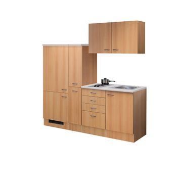 Singleküche NANO - mit 2er Elektro-Kochfeld - Breite 190 cm - Buche