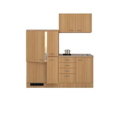 Singleküche NANO - mit 2er Glaskeramik-Kochfeld - Breite 190 cm - Buche