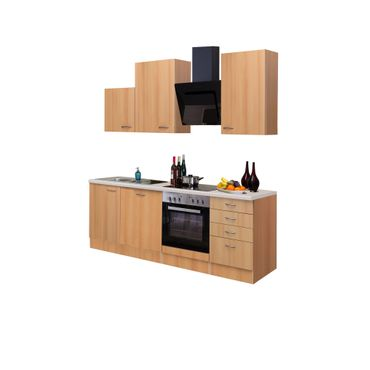 Küchenzeile NANO - Küche mit Auszug-Unterschrank - Breite 220 cm - Buche