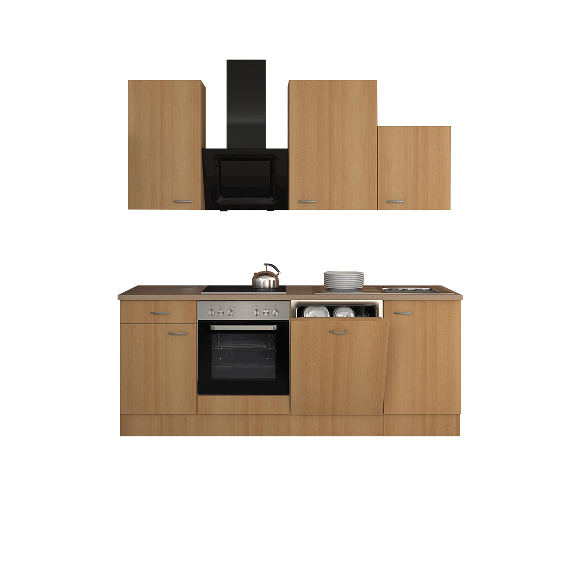 k chenzeile nano k che mit design abzugshaube breite 220 cm buche k che k chenzeilen. Black Bedroom Furniture Sets. Home Design Ideas