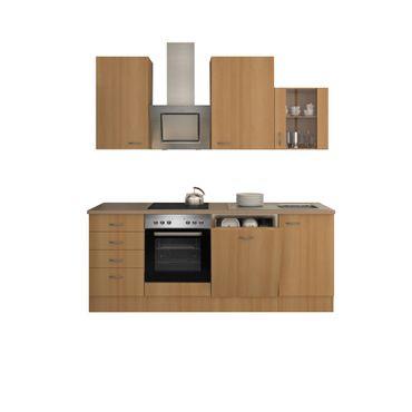 Küchenzeile NANO - mit Edelstahlhaube und Auszugschrank - Breite 220 cm - Buche