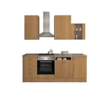 Küchenzeile NANO mit E-Geräten und Kaminabzugshaube - Breite 220 cm - Buche