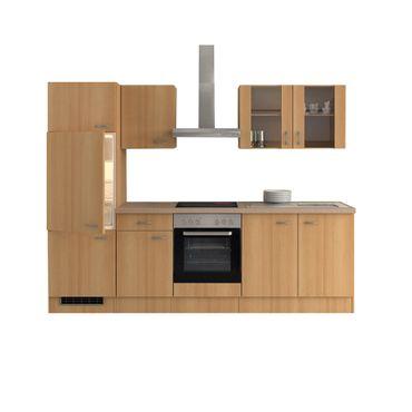 Küchenzeile NANO - Küche mit E-Geräten - 12-teilig - Breite 270 cm - Buche