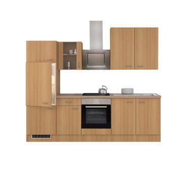 Küchenzeile NANO - mit E-Geräten und Glashänger - Breite 270 cm - Buche