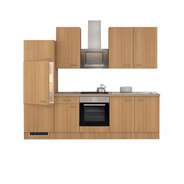 Küchenzeile NANO - mit E-Geräten und Edelstahlhaube - Breite 270 cm - Buche