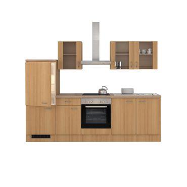 Küchenzeile NANO - mit Midiumbau und Geräten - 12-teilig - Breite 270 cm - Buche