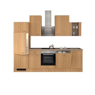 Küchenzeile NANO - mit E-Geräten und Glashängeschrank - Breite 280 cm - Buche