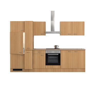 Küchenzeile NANO - Küche mit E-Geräten - 13-teilig - Breite 300 cm - Buche