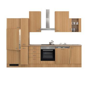 Küchenzeile NANO - E-Geräte, 1 Glashänger - 15-teilig - Breite 310 cm - Buche
